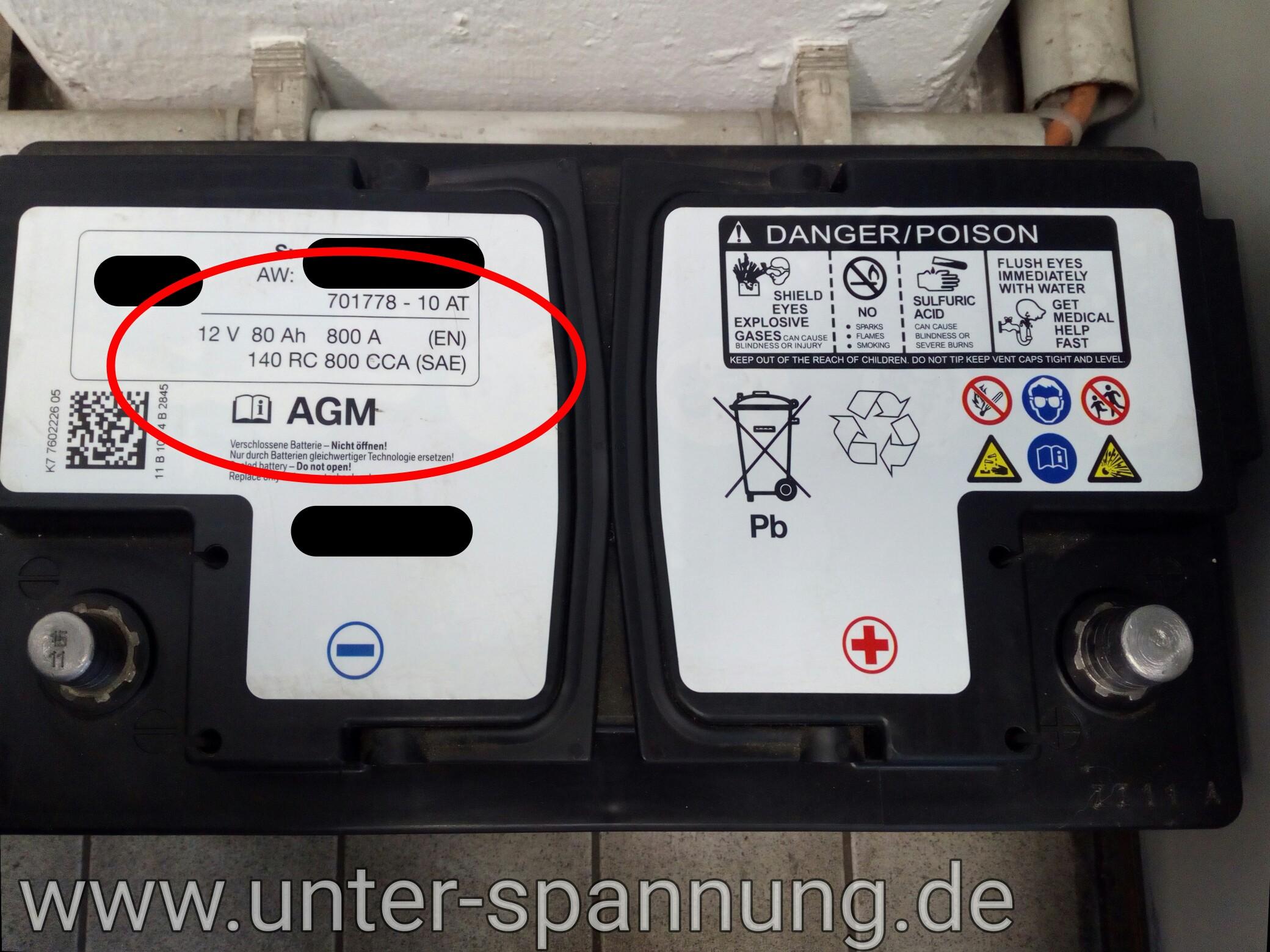 unter-spannung.de, AGM, AGM Batterie, 12 Volt, 12V, Kfz, Autobatterie, Autobatterie tauschen, Vlies,